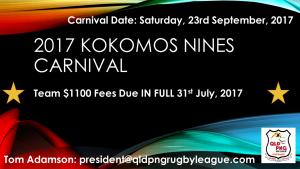 2017 Kokomos Nines Carnival Fees