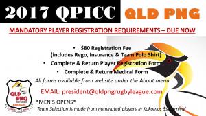 2017 QPICC Player Rego Due Now