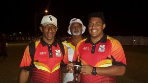 QLD PNG Kokomos 2017 U16s QPICC Champions Captains Joshua Paiyo and Cruise Ten with Tom Adamson and Trophy